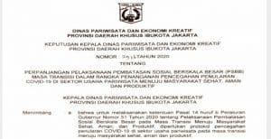 Jakarta Perpanjang Pembatasan Usaha di Sektor Pariwisata